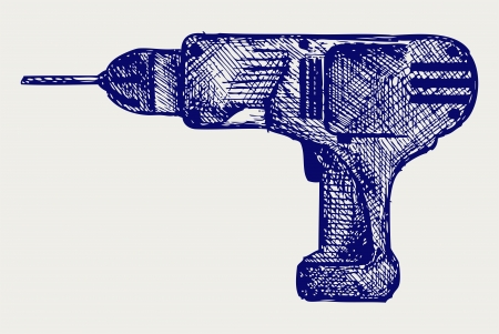 Cordless drill  Doodle style Stock Vector - 17057415