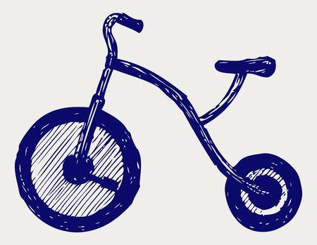 driewieler: Driewieler kind Doodle stijl Stock Illustratie