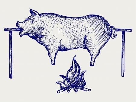 구운 돼지 낙서 스타일