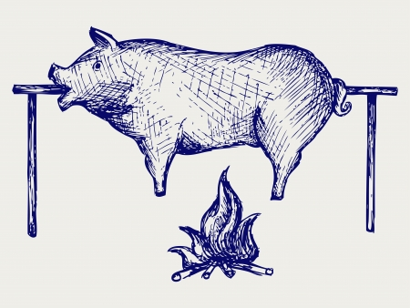 carcass meat: Roasted pig  Doodle style