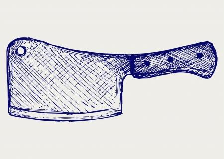 고기 칼 칼 낙서 스타일