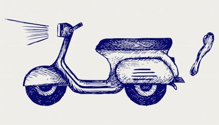 karikatuur: Vintage scooter stijl Doodle