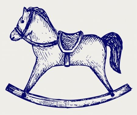 schommelpaard: Houten hobbelpaard Doodle stijl Stock Illustratie