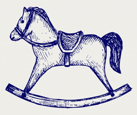 wooden horse: Wooden rocking horse  Doodle style