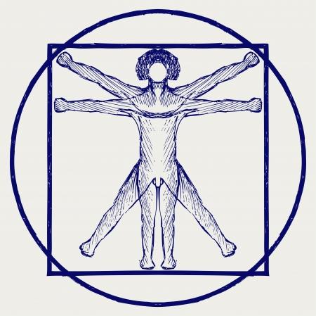 uomo vitruviano: Uomo vitruviano stile Doodle Vettoriali