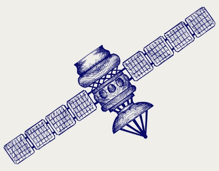 Satellite with dish antenna  Doodle style Vector