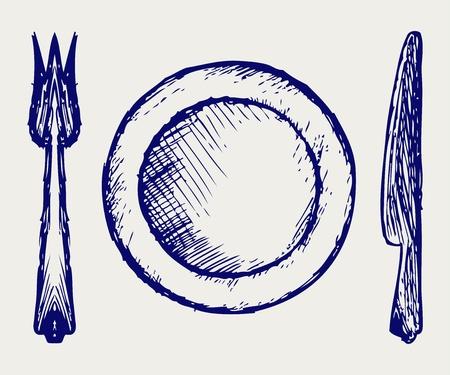 cookware: Utensilios de cocina estilo Doodle Vectores