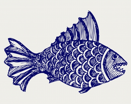 Piranha fish. Doodle style