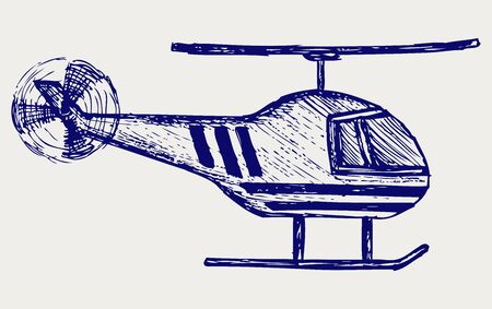 Helicopter. Doodle style Vector