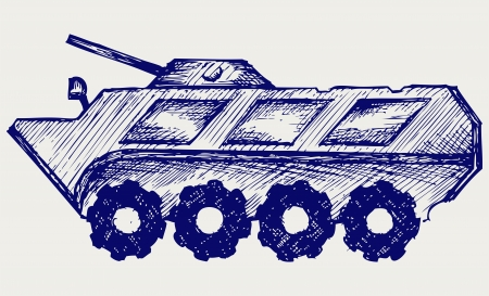 gunnery: Armored troop-carrier. Doodle style Illustration