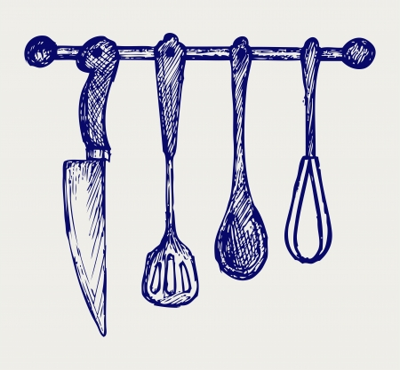 implements: Rack of kitchen utensils. Doodle style