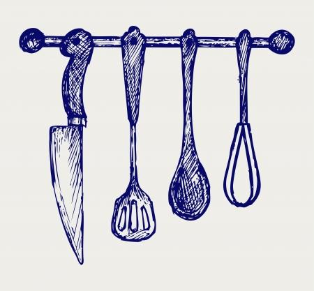 Rack of kitchen utensils. Doodle style