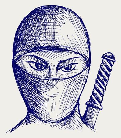 Ninja assassin. Doodle style Vector