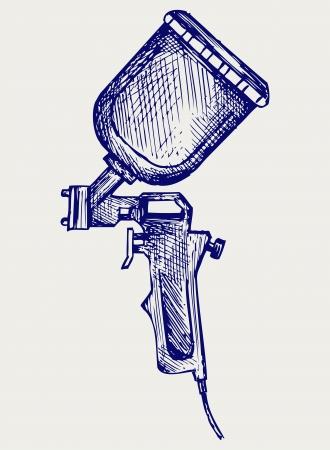 pulverizador: Pistola de pulverización. Estilo Doodle