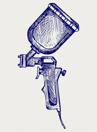 sprayer: Spray gun. Doodle style