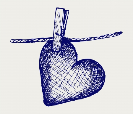 Heart in clothesline. Doodle style