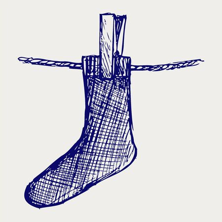 stockinet: Socks made of a clap in clothesline. Doodle style