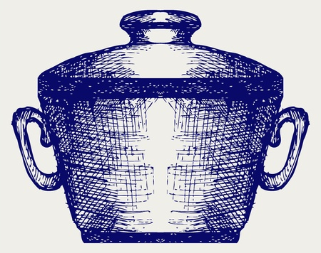 stockpot: Steel pot. Doodle style Illustration