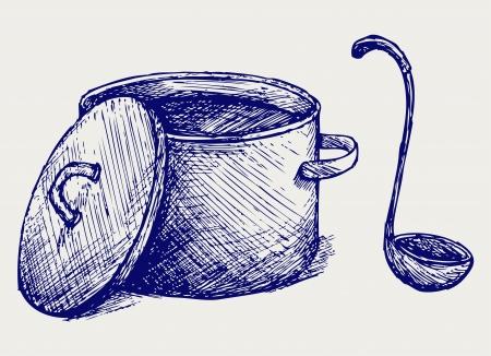 뜨거운 수프. 낙서 스타일 일러스트