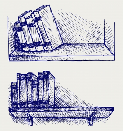rare background: Books on the shelf. Doodle style