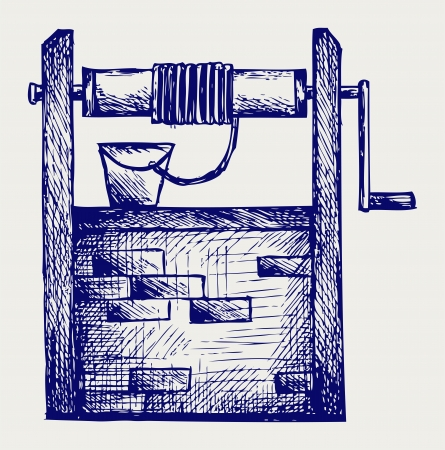 water basin: Rustic draw-well. Doodle style
