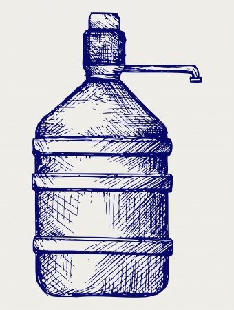 Bottle water. Doodle style Stock Vector - 17333615