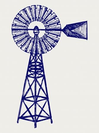 MOLINOS DE VIENTO: Antiguo molino de viento. Estilo Doodle Vectores