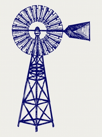Old windmill. Doodle style Stock Vector - 17333612