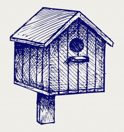 Nest box birdhouse. Doodle style Vector