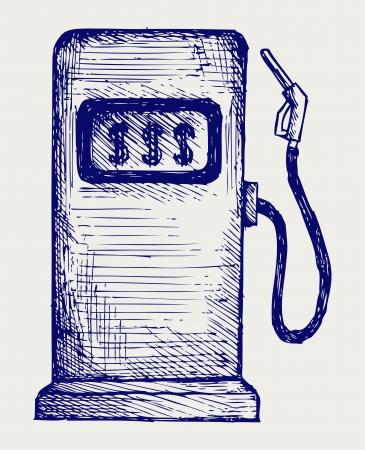 bomba de gasolina: Gas estación de bombeo. Estilo Doodle