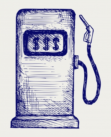 refuel: Gas station pump. Doodle style