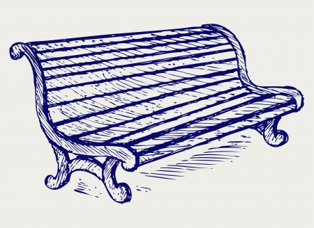 garden bench: Wooden bench. Doodle style