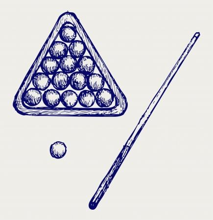 cues: illustration of billard cues and balls. Doodle style Illustration