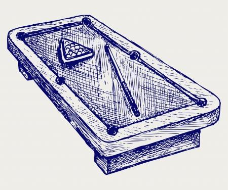 Einsatzzeichen: Illustration von Billard Queues und Kugeln. Doodle-Stil
