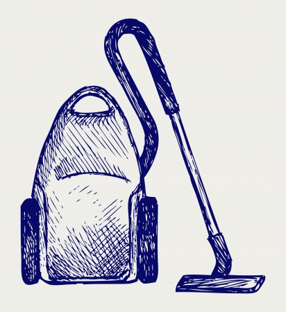 electric broom: Vacuum cleaner. Doodle style