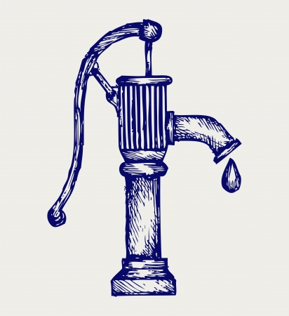 hand water: Water pump. Doodle style