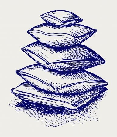 headboard: Closeup pillow. Doodle style