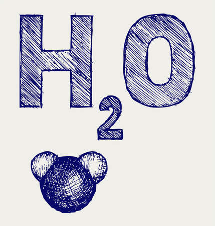 H2O. Doodle style Vector