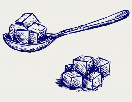 sugar cube: Refined white sugar. Doodle style