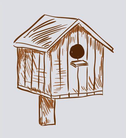 cuboid: Nest box birdhouse. Style vector