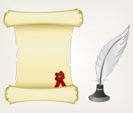 creative writing: Parchment scroll and feather. Style vector Illustration