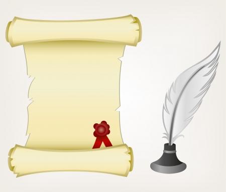 shapes cartoon: Pergamino y la pluma. Estilo vector Vectores