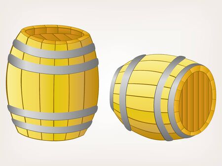 wooden barrel: Beer barrels. Style vector