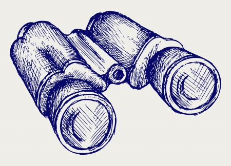 locate: Binoculars Icon. Doodle style Illustration