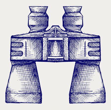 Binoculars Icon. Doodle style Vector