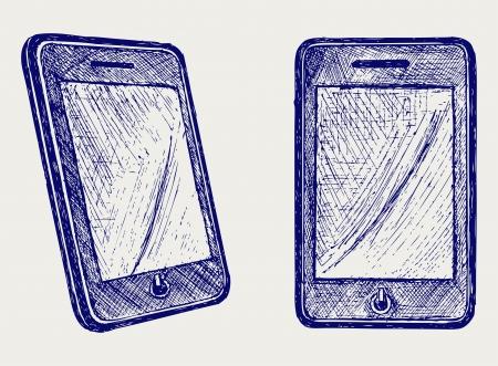 디지털 태블릿. 낙서 스타일 일러스트