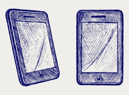 ancient telephone: Digital tablet. Doodle style Illustration