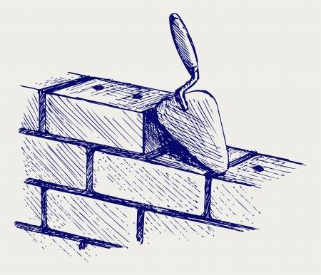 bricklayer: Paleta y ladrillos. Estilo Doodle