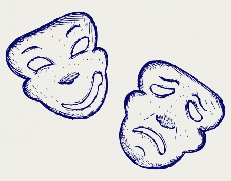 comedy disguise: Comedy and tragedy theater masks. Doodle style Illustration