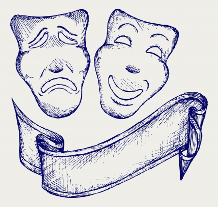 tragedy mask: Comedy and tragedy theater masks. Doodle style Illustration